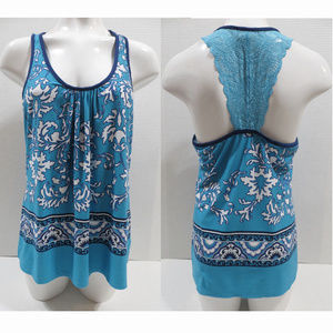 In Bloom top Large sleeveless lace racerback